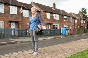 Ruth Chorley stands outside estate in Oldham.