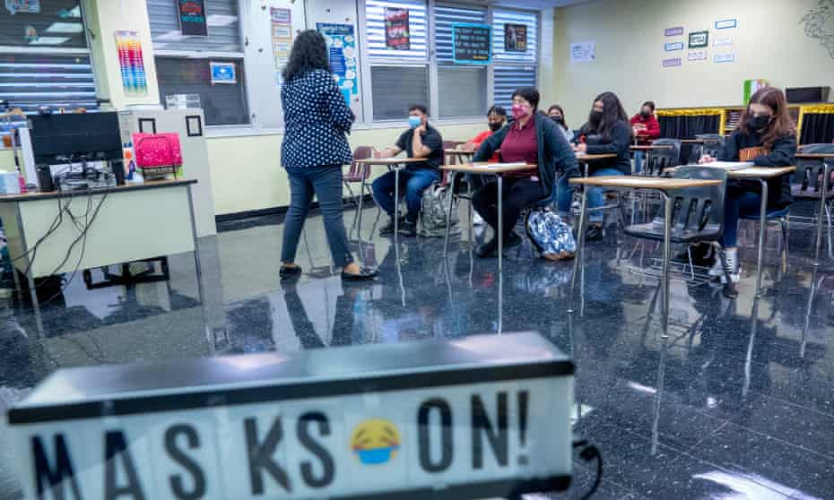 Students attend classes during the first day of school in Miami Lakes, Florida.