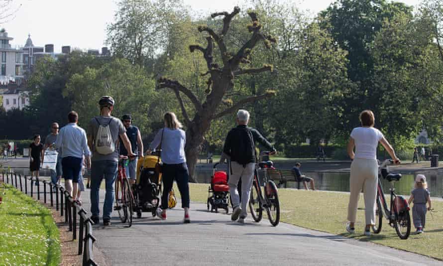 People walking in Regents Park, London.
