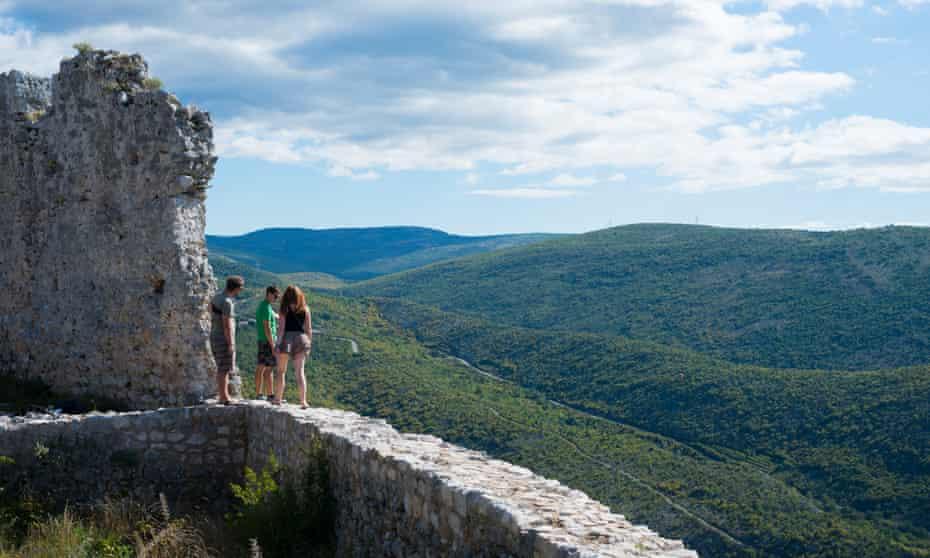 Backpackers visiting Blagaj, Bosnia-Herzegovina