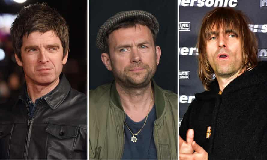 Feuding … Noel Gallagher, Damon Albarn and Liam Gallagher.