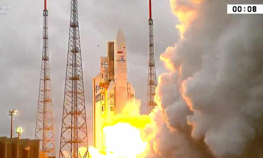 The Ariane 5 rockets launch from French Guiana to deliver TIBA-1 and Inmarsat-GX-5 into orbit.