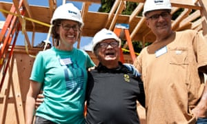 Robert Desjarlais (center) was the first homeless person chosen to take part in the Block project. He will live in a 125 sq ft house built in Kim Sherman and Dan Tenenbaum's backyard in Seattle's Beacon Hill neighborhood.