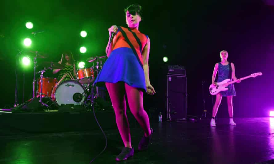 'We want to be a part of this conversation' ... from left, Tobi Vail, Kathleen Hanna and Kathi Wilcox perform last month in Los Angeles.