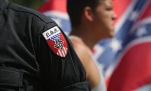 Neo Nazis (National Socialist Movement) take part in a Ku Klux Klan demonstration in Columbia, South Carolina.