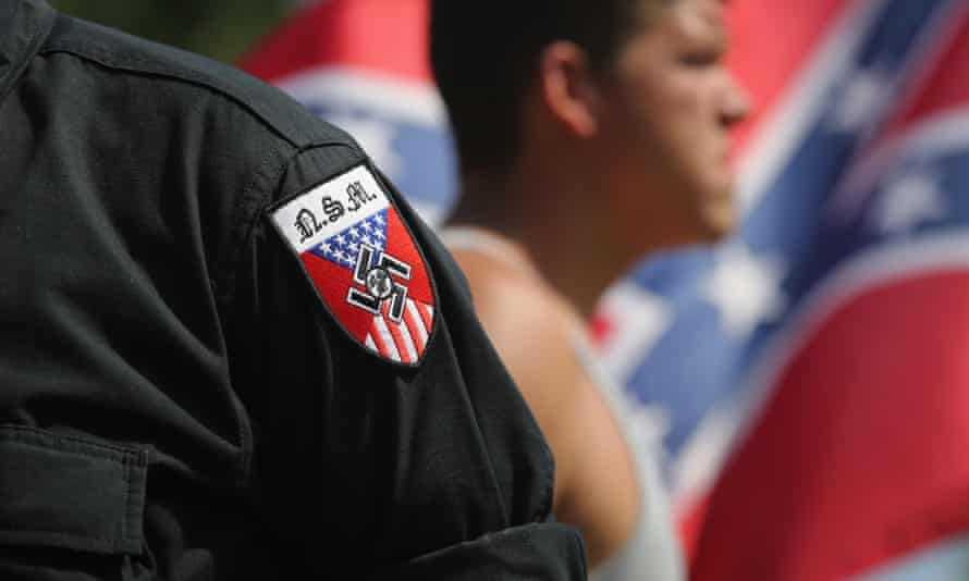 Neo Nazis (National Socialist Movement) take part in a Ku Klux Klan demonstration in Columbia, South Carolina.