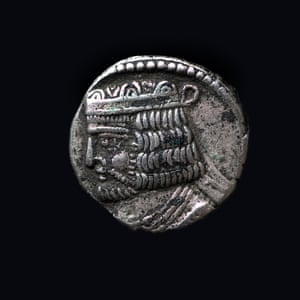 Antique silver coin, Parthian empire, 147-191, Iran.