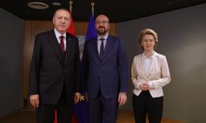 Recep Tayyip Erdoğan (left) meets Charles Michel and Ursula Von der Leyen.