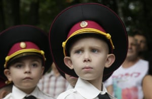 Young cadets on their first day of school in Kiev, Ukraine