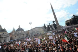 February 2011: demonstrators gather at Rome's Piazza del Popolo in a rally called 'If not now, when?' organised by Italian women outraged at 'degrading' media coverage of the sex scandals surrounding Berlusconi