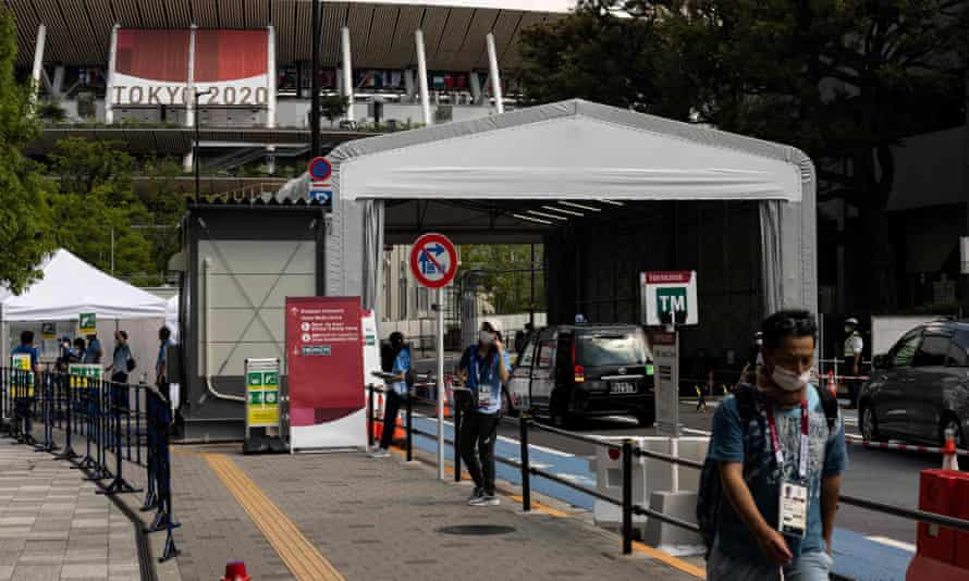 There is a security gate near the National Stadium, the main venue for the Tokyo Olympics.