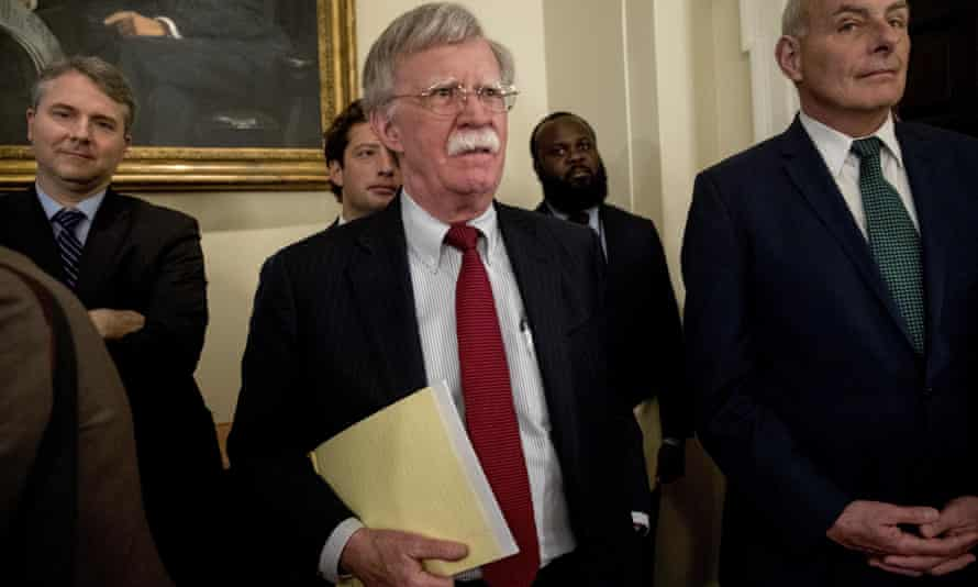 John Bolton attends a meeting at the White House on 17 July.