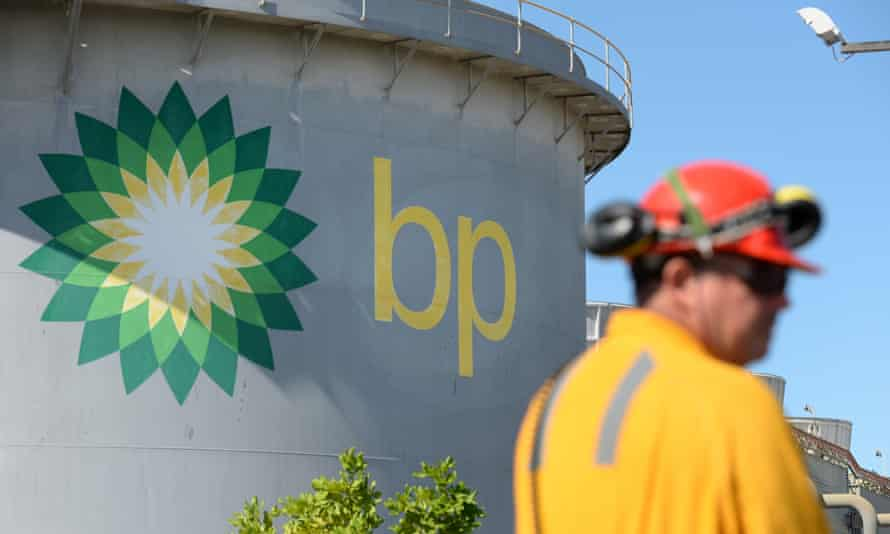 A worker at the BP oil refinery in Brisbane, Australia