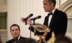 George Osborne looks on as Mark Carney speaks