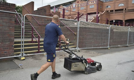 The poor Villa groundstaff have been driven to mowing tarmac.