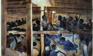 Slaves below deck on the Albanez, a Spanish slave ship, painted around 1840.