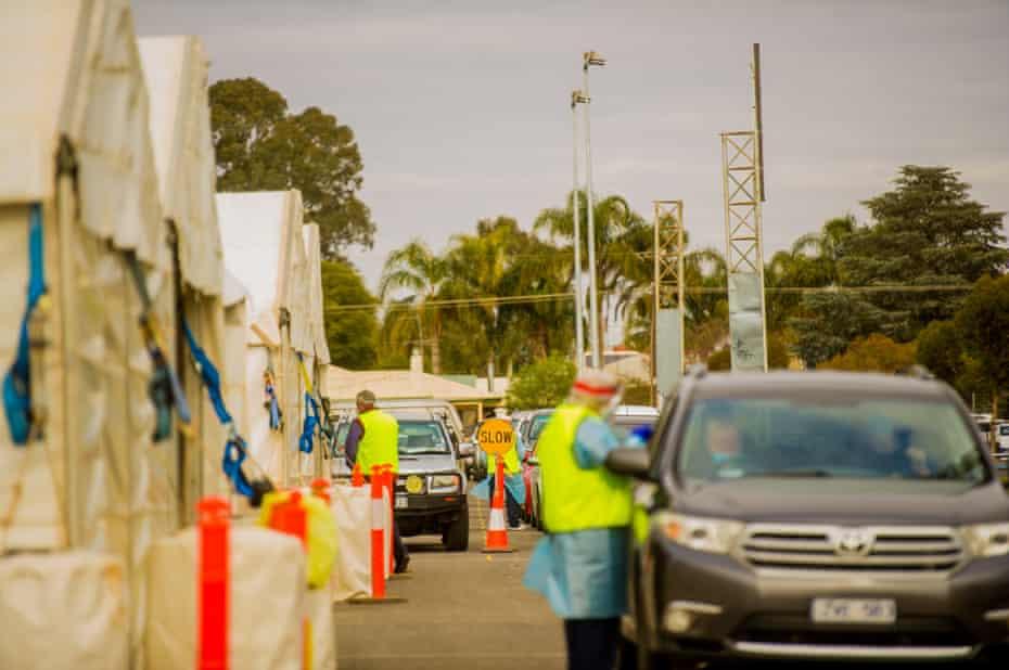 A pop-up Covid testing site at Sarah Oval in Mildura in regional Victoria.