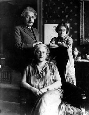 Albert Einstein with his wife and cousin Elsa, and her daughter Margot