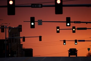 On the road … sunset in Kansas.