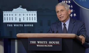 Dr Anthony Fauci speaks during a briefing with the coronavirus task force at the White House in Washington.