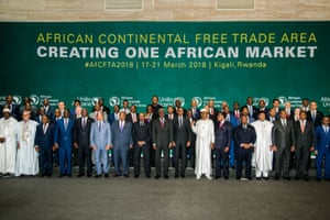 Heads of state pose for a photo at the Kigali summit where countries signed up to the African Continental Free Trade Area