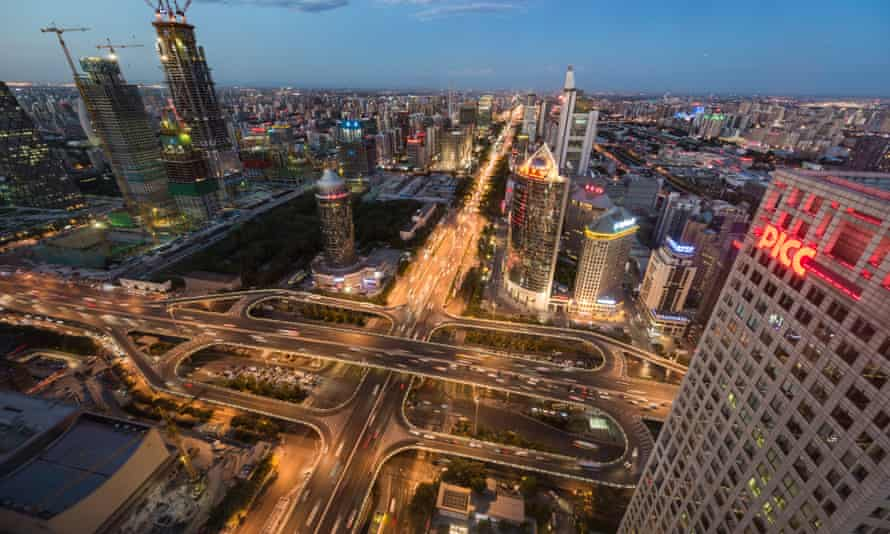 Aerial view of busy overpass in Beijing at dusk