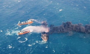 Foam is sprayed on the burning oil tanker Sanchi at sea off the coast of eastern China on Wednesday.