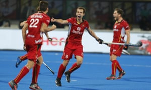 Florent van Aubel celebrates after Alexander Hendrickx's first goal as Belgium routed England in the Men's Hockey World Cup semi-final.