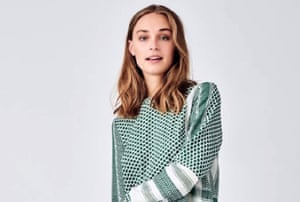 model wearing green Cecilie Copenhagen keffiyeh pattern dress
