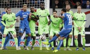 Hoffenheim's Kerem Demirbay fires in a free kick during the Bundesliga match between Hoffenheim and Schalke.