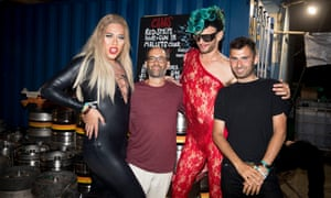 Michael and his dad, Richard, with Cassandra (left) and Jonny Woo at the NYC downlow.