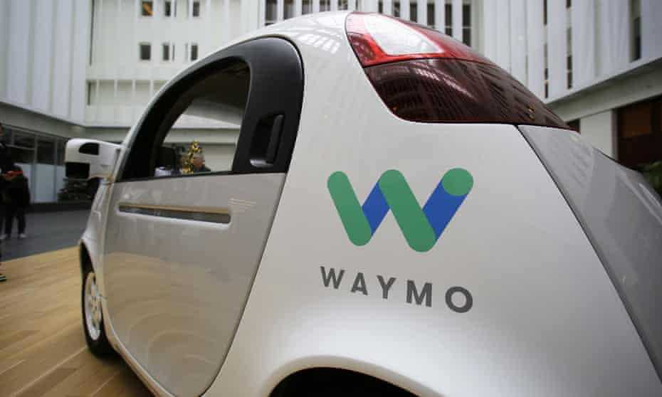The Waymo driverless car displayed during a Google event in San Francisco.
