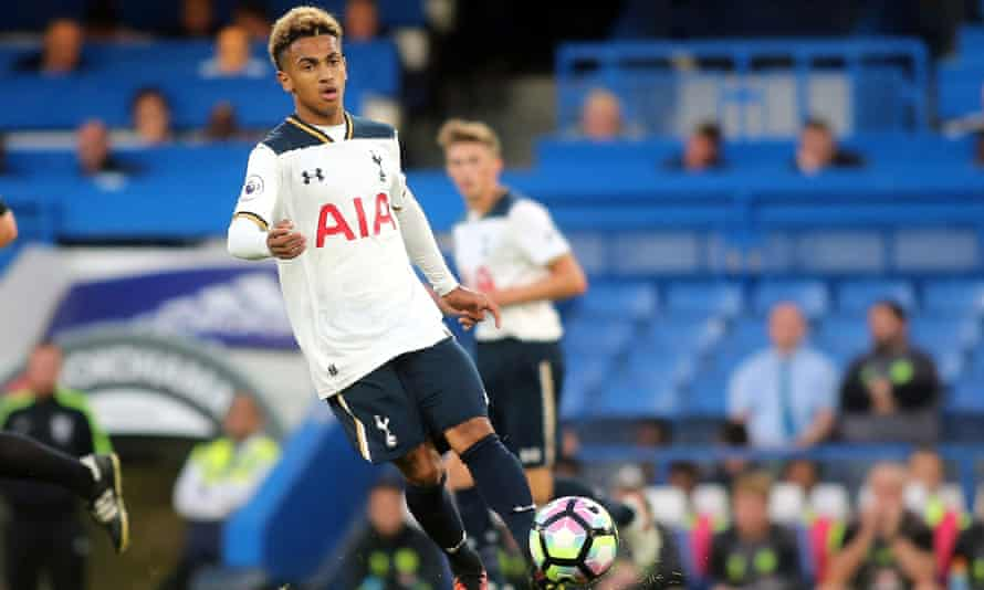 Marcus Edwards in action for Tottenham Hotspur's Under-23s team.