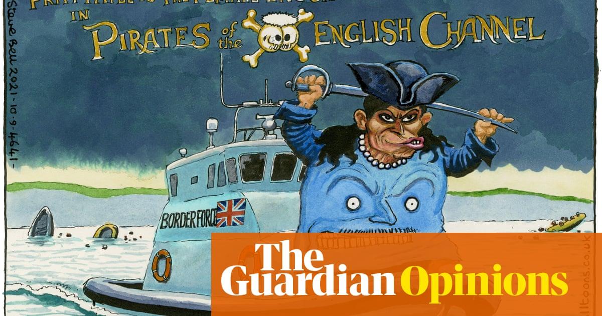 Steve Bell on Priti Patel sending vulnerable boats back to France – cartoon