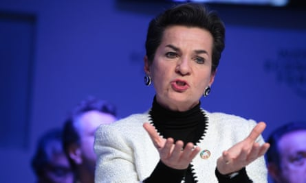 Christiana Figueres, former executive secretary of the United Nations framework convention on climate change, speaks at the World Economic Forum in Davos, Switzerland, on 18 Jan 2017