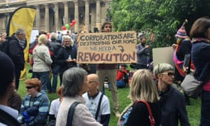 Protesters at the climate rally, which organisers hoped would reach 30,000.