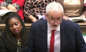 Jeremy Corbyn speaks during prime minister's questions in the House of Common, as Labour prepares a cross-party motion to block a no deal Brexit.