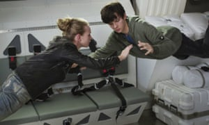 Britt Robertson and Asa Butterfield in The Space Between Us.