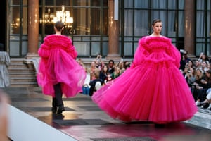 Big pink dresses at Molly Goddard in London.