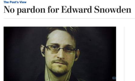 How the Post website headlined its editorial on Edward Snowden.