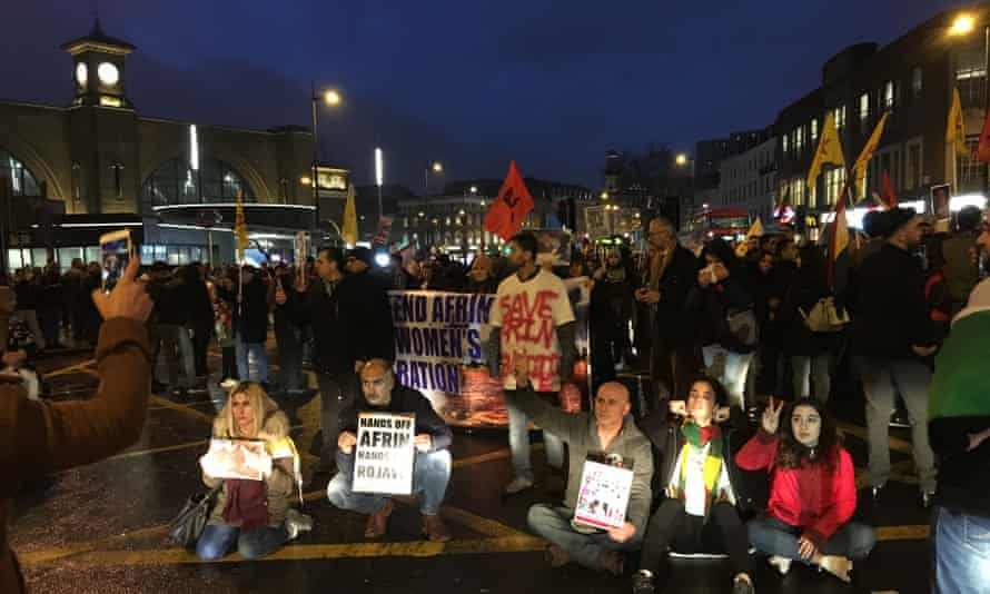Protesters outside King's Cross station in central London