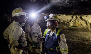 Miners on at the Anglo American Bathopele mine in Runstenburg, South Africa