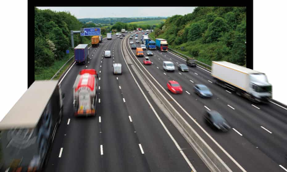 Cars and trucks on a section of smart motorway on the M1 in Yorkshire, UK