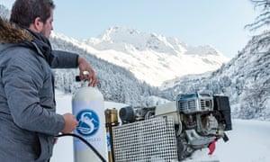Clean machine: Moritz Krähenmann in the Swiss Alps.