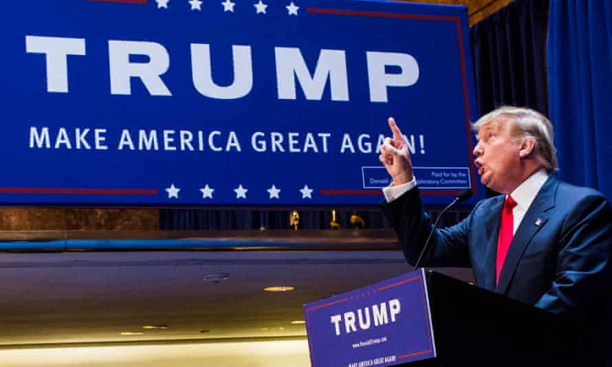 Donald Trump announces his candidacy for the presidency at Trump Tower.