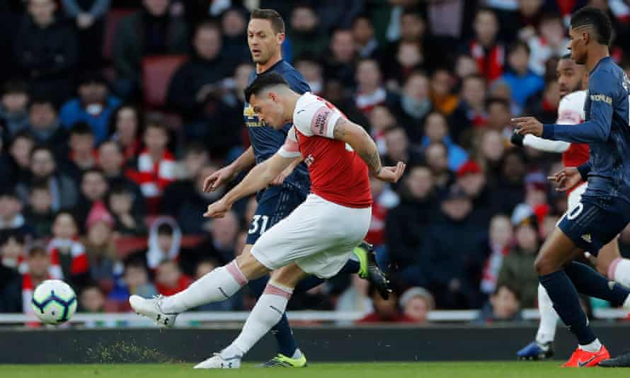 Arsenal's Granit Xhaka scores his side's first goal of the game.