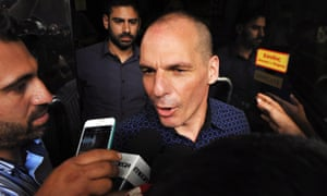 Yanis Varoufakis speaks to the press in Athens after resigning as finance minister after the referendum on Greece's bailout package in July 2015.