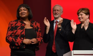 The shadow home secretary, Diane Abbott, is applauded after she addressed delegates.