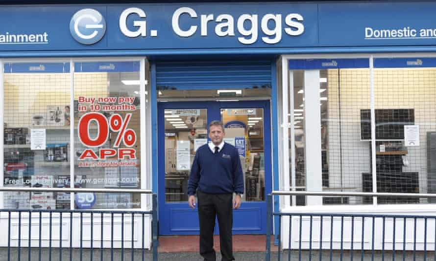 Stephen Craggs outside his electrical shop on Moss Arcade, Ripon.