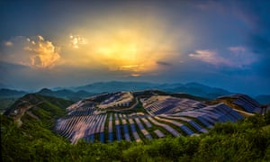 The sun sets over the Fujian solar power station